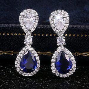 NEW Silver Blue Teardrop Sapphire Diamond Earrings
